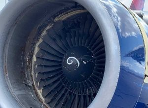 A view of the fan of the left engine. Photo by @brian_schnee via Twitter